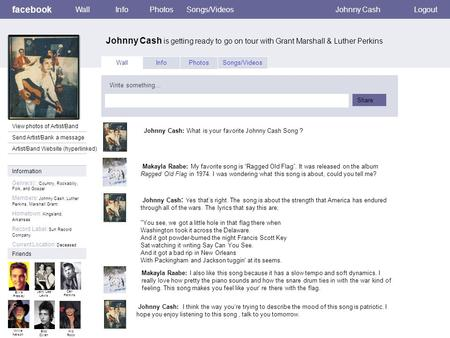 Facebook Johnny Cash is getting ready to go on tour with Grant Marshall & Luther Perkins WallInfoPhotosSongs/VideosJohnny CashLogout View photos of Artist/Band.