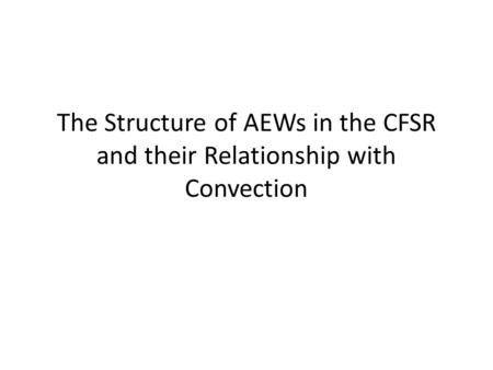 The Structure of AEWs in the CFSR and their Relationship with Convection.