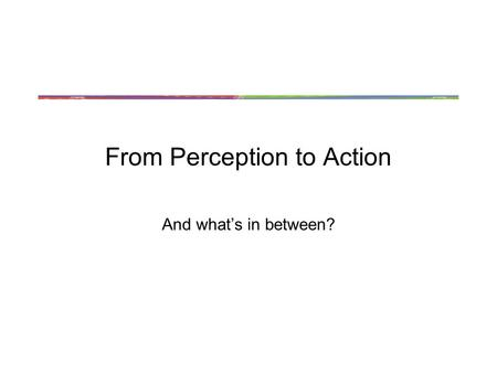 From Perception to Action And what's in between?.