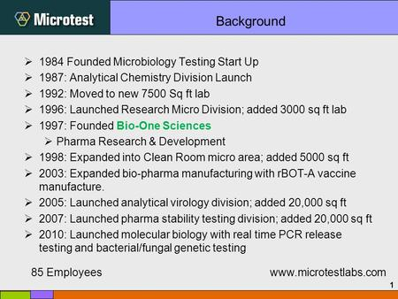 1  1984 Founded Microbiology Testing Start Up  1987: Analytical Chemistry Division Launch  1992: Moved to new 7500 Sq ft lab  1996: Launched Research.