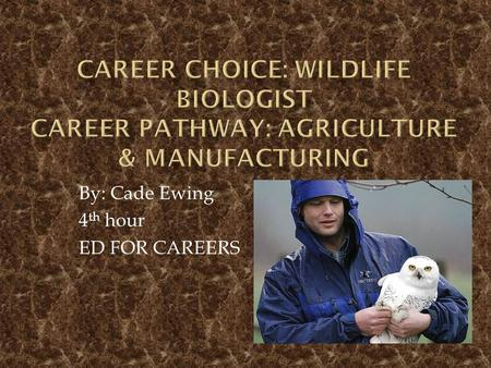 By: Cade Ewing 4 th hour ED FOR CAREERS.  The average Wildlife Biologist makes about $27 an hour, which is $56,500 a year.