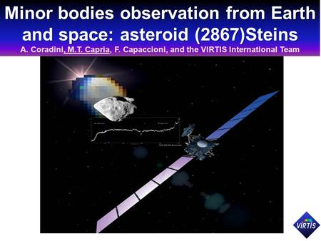 Minor bodies observation from Earth and space: asteroid (2867)Steins A. Coradini, M.T. Capria, F. Capaccioni, and the VIRTIS International Team.