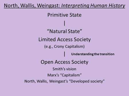 "North, Wallis, Weingast: Interpreting Human History Primitive State | ""Natural State"" Limited Access Society (e.g., Crony Capitalism) 