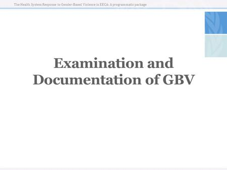 The Health System Response to Gender-Based Violence in EECA: A programmatic package Examination and Documentation of GBV.
