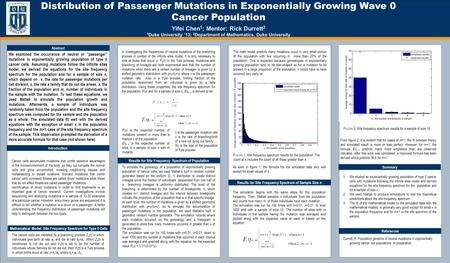 TEMPLATE DESIGN © 2008 www.PosterPresentations.com Distribution of Passenger Mutations in Exponentially Growing Wave 0 Cancer Population Yifei Chen 1 ;
