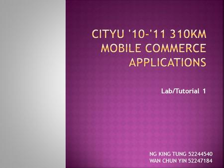 Lab/Tutorial 1 NG KING TUNG 52244540 WAN CHUN YIN 52247184.