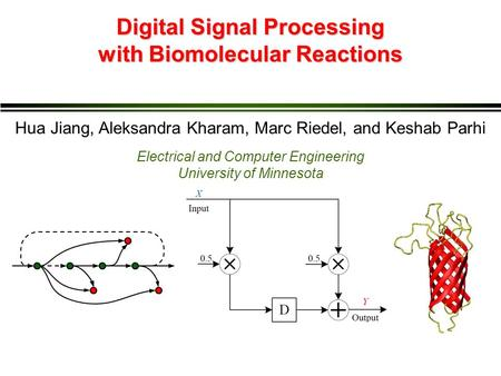 Digital Signal Processing with Biomolecular Reactions Hua Jiang, Aleksandra Kharam, Marc Riedel, and Keshab Parhi Electrical and Computer Engineering University.