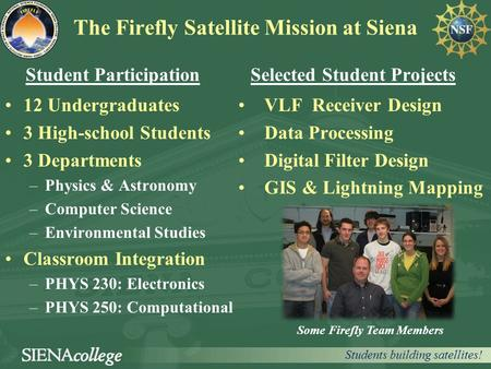 The Firefly Satellite Mission at Siena Student Participation 12 Undergraduates 3 High-school Students 3 Departments –Physics & Astronomy –Computer Science.