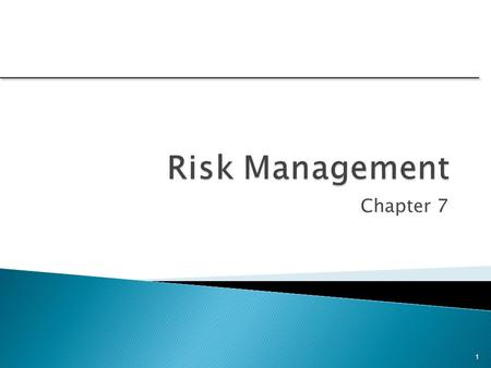 Chapter 7 1. 1.Define project risk. 2.Recognize four key stages in project risk management and the steps necessary to manage risk. 3.Understand five primary.