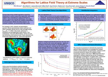 Algorithms for Lattice Field Theory at Extreme Scales Rich Brower 1*, Ron Babich 1, James Brannick 2, Mike Clark 3, Saul Cohen 1, Balint Joo 4, Tony Kennedy.
