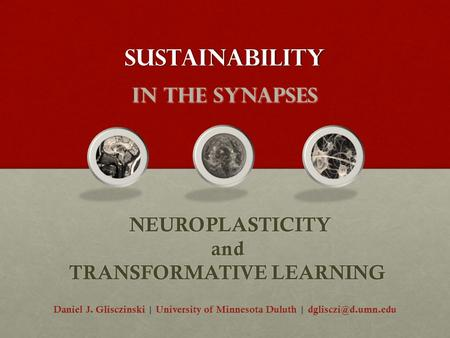 Sustainability _ in the synapses NEUROPLASTICITY and TRANSFORMATIVE LEARNING NEUROPLASTICITY and TRANSFORMATIVE LEARNING Daniel J. Glisczinski | University.