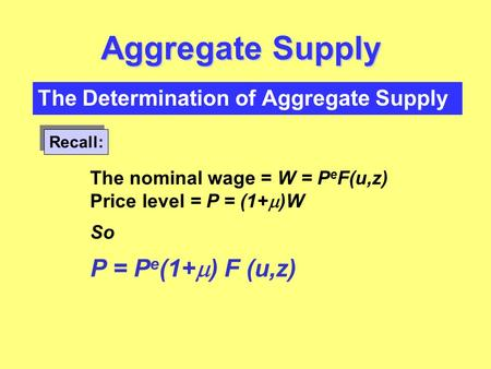 The Determination of Aggregate Supply Aggregate Supply Recall: The nominal wage = W = P e F(u,z) Price level = P = (1+  )W So P = P e (1+  ) F (u,z)