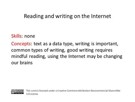 Skills: none Concepts: text as a data type, writing is important, common types of writing, good writing requires mindful reading, using the Internet may.