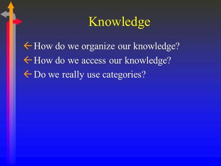Knowledge ß How do we organize our knowledge? ß How do we access our knowledge? ß Do we really use categories?