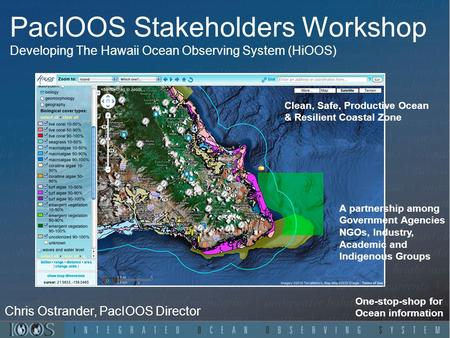PacIOOS Stakeholders Workshop Developing The Hawaii Ocean Observing System (HiOOS) One-stop-shop for Ocean information Chris Ostrander, PacIOOS Director.
