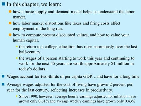 In this chapter, we learn: how a basic supply-and-demand model helps us understand the labor market. how labor market distortions like taxes and firing.