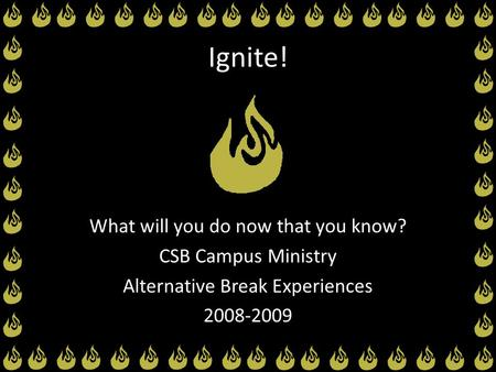 Ignite! What will you do now that you know? CSB Campus Ministry Alternative Break Experiences 2008-2009.