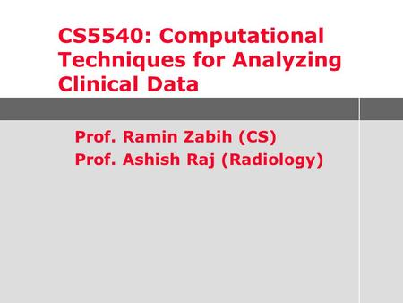 Prof. Ramin Zabih (CS) Prof. Ashish Raj (Radiology) CS5540: Computational Techniques for Analyzing Clinical Data.