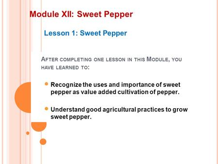 Module XII: Sweet Pepper Lesson 1: Sweet Pepper A FTER COMPLETING ONE LESSON IN THIS M ODULE, YOU HAVE LEARNED TO : Recognize the uses and importance of.
