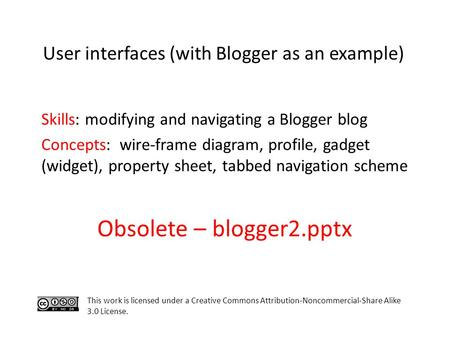 Skills: modifying and navigating a Blogger blog Concepts: wire-frame diagram, profile, gadget (widget), property sheet, tabbed navigation scheme This work.