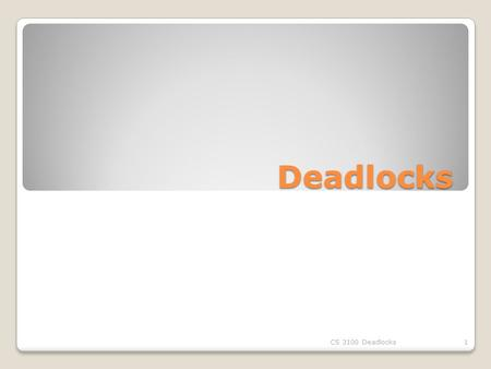 Deadlocks CS 3100 Deadlocks1. The Deadlock Problem A set of blocked processes each holding a resource and waiting to acquire a resource held by another.