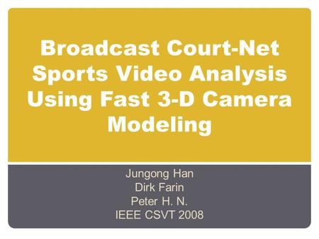 Broadcast Court-Net Sports Video Analysis Using Fast 3-D Camera Modeling Jungong Han Dirk Farin Peter H. N. IEEE CSVT 2008.