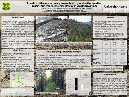 Effects of hillslope terracing on productivity and soil properties in semi-arid Ponderosa Pine habitat in Western Montana L. Cerise¹ ², D.S. Page-Dumroese¹,
