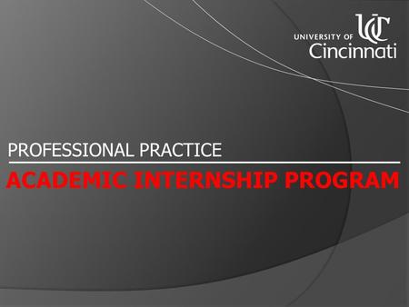 PROFESSIONAL PRACTICE ACADEMIC INTERNSHIP PROGRAM.