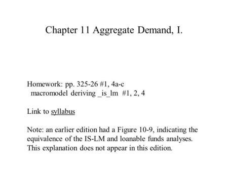 Chapter 11 Aggregate Demand, I.