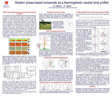 Modern phase-based ionosonde as a thermospheric neutral wind profiler N. Zabotin 1, S. Vadas 2 1 University of Colorado at Boulder, 2 NWRA/CoRA Division.