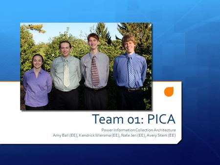 Team 01: PICA Power Information Collection Architecture Amy Ball (EE), Kendrick Wiersma (EE), Nate Jen (EE), Avery Sterk (EE)