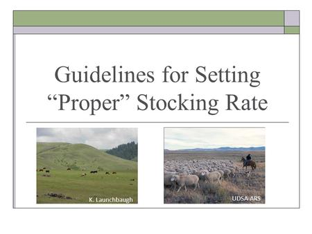 "Guidelines for Setting ""Proper"" Stocking Rate K. Launchbaugh UDSA-ARS."