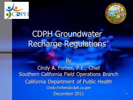 CDPH Groundwater Recharge Regulations