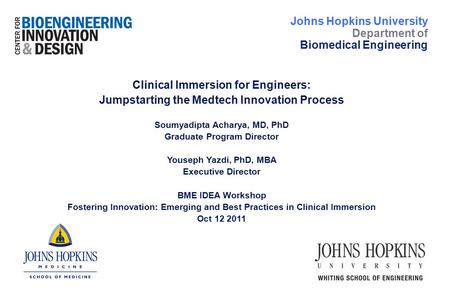 Clinical Immersion for Engineers: Jumpstarting the Medtech Innovation Process Soumyadipta Acharya, MD, PhD Graduate Program Director Youseph Yazdi, PhD,