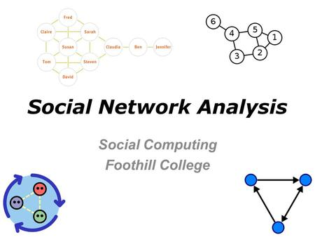 Social Network Analysis Social Computing Foothill College.
