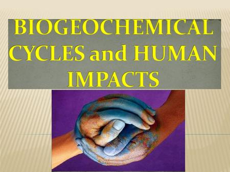 BIOGEOCHEMICAL <strong>CYCLES</strong>:  The RECYCLING of MATERIALS through living organisms <strong>and</strong> the physical environment. BIOCHEMIST: Scientists who study how LIFE WORKS.
