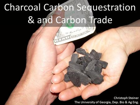 Charcoal Carbon Sequestration & and Carbon Trade Christoph Steiner The University of Georgia, Dep. Bio & Ag Eng.