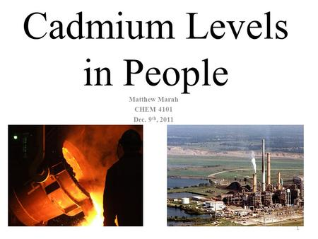 Cadmium Levels in People Matthew Marah CHEM 4101 Dec. 9 th, 2011 1.