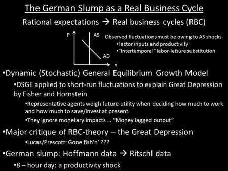 The German Slump as a Real Business Cycle Rational expectations  Real business cycles (RBC) Dynamic (Stochastic) General Equilibrium Growth Model DSGE.