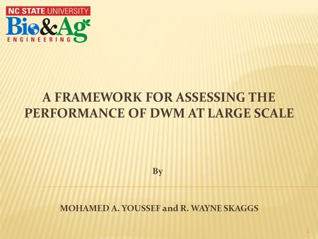 A FRAMEWORK FOR ASSESSING THE PERFORMANCE OF DWM AT LARGE SCALE MOHAMED A. YOUSSEF and R. WAYNE SKAGGS 1 By.