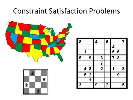 "Constraint Satisfaction Problems. Constraint satisfaction problems (CSPs) Standard search problem: – State is a ""black box"" – any data structure that."