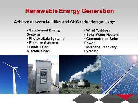Renewable Energy Generation Geothermal Energy Systems Photovoltaic Systems Biomass Systems Landfill Gas Microturbines Wind Turbines Solar Water Heaters.