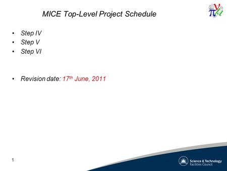MICE Top-Level Project Schedule Step IV Step V Step VI Revision date: 17 th June, 2011 1.