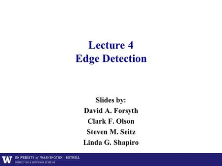 Lecture 4 Edge Detection