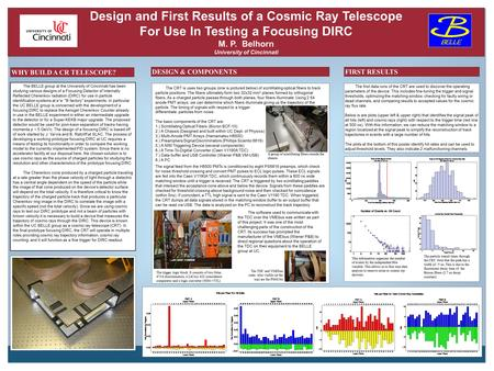 Design and First Results of a Cosmic Ray Telescope For Use In Testing a Focusing DIRC M. P. Belhorn University of Cincinnati The BELLE group at the University.