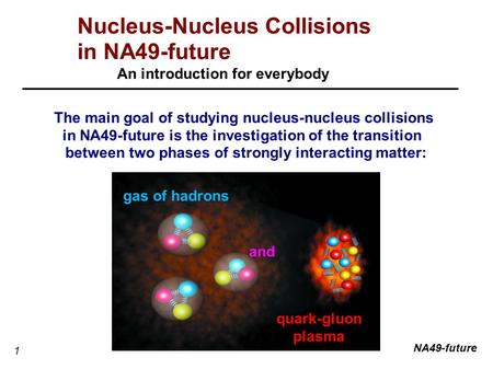 1 Nucleus-Nucleus Collisions in NA49-future An introduction for everybody The main goal of studying nucleus-nucleus collisions in NA49-future is the investigation.