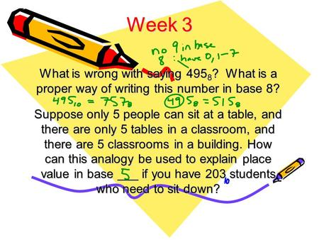 Week 3 What is wrong with saying 495 8 ? What is a proper way of writing this number in base 8? Suppose only 5 people can sit at a table, and there are.