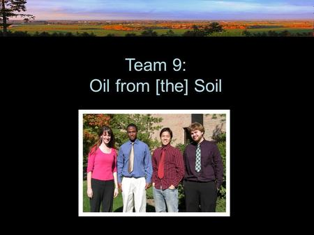 Team 9: Oil from [the] Soil. Our [Chemical Engineering] Team: Brooke Buikema Stephen Gabbadon Mike Workman Hwok-Chuen Lee.