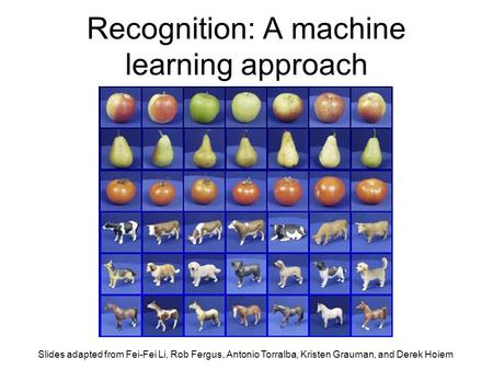 Recognition: A machine learning approach Slides adapted from Fei-Fei Li, Rob Fergus, Antonio Torralba, Kristen Grauman, and Derek Hoiem.