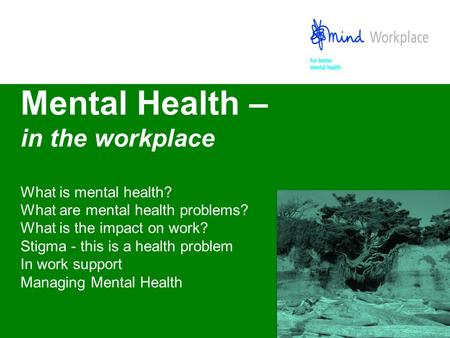Mental Health – in the workplace What is mental health? What are mental health problems? What is the impact on work? Stigma - this is a health problem.